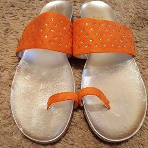 Bellini Orange Embellished Sandal 7.5